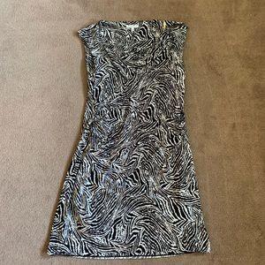 Chaus zebra stripe cowl neck fitted dress.